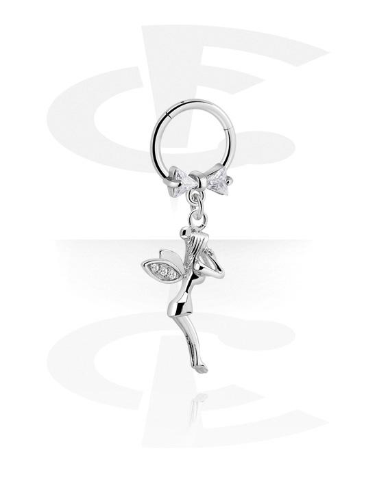 Renkaat, Monikäyttönipistin kanssa fairy charm ja crystal stones, Kirurginteräs 316L ,  Pinnoitettu messinki