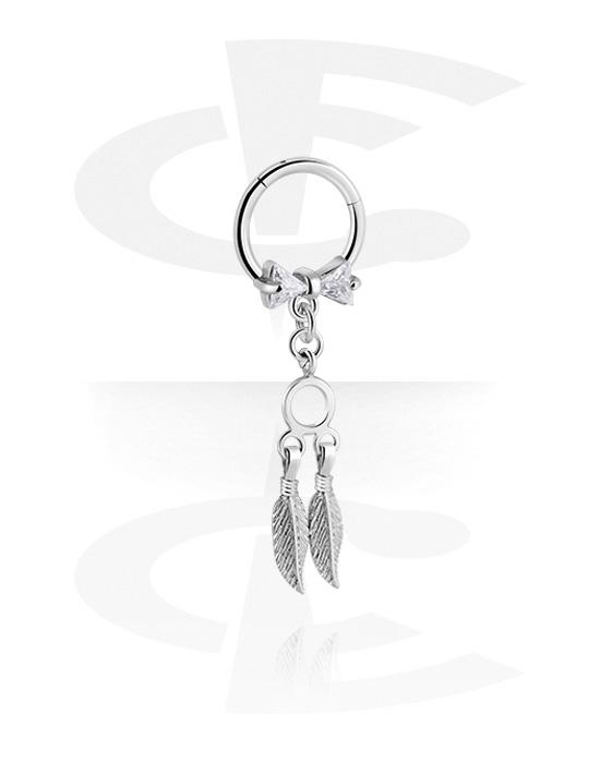Renkaat, Monikäyttönipistin kanssa feather pendant ja crystal stones, Kirurginteräs 316L ,  Pinnoitettu messinki