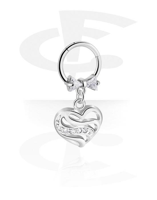Alke za piercing, Višenamjenski kliker s heart pendant i crystal stones, Kirurški čelik 316L ,  Obloženi mesing