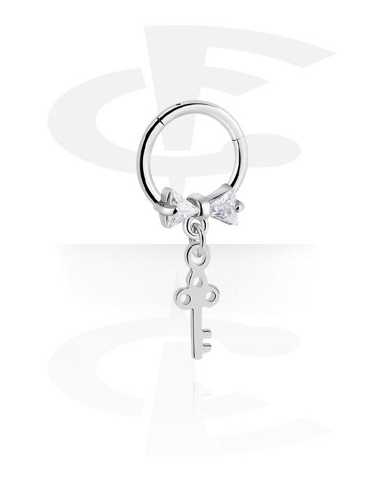 Alke za piercing, Višenamjenski kliker s Key Charm i crystal stones, Kirurški čelik 316L ,  Obloženi mesing