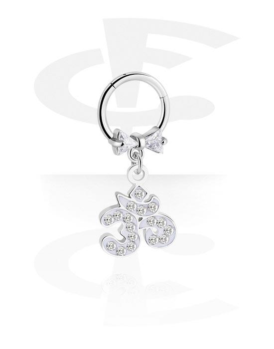 Piercingringen, Jeweled Hinged Segment Ring, Chirurgisch staal 316L, Belegde messing