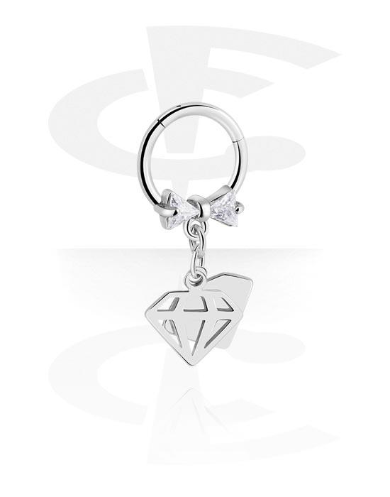 Renkaat, Monikäyttönipistin kanssa Diamond Charm ja crystal stones, Kirurginteräs 316L ,  Pinnoitettu messinki