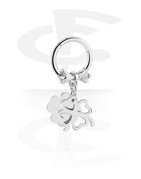 Alke za piercing, Višenamjenski kliker s cloverleaf charm i crystal stones, Kirurški čelik 316L ,  Obloženi mesing