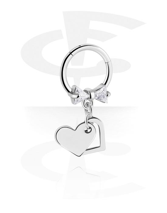 Renkaat, Monikäyttönipistin kanssa heart pendant ja crystal stones, Kirurginteräs 316L ,  Pinnoitettu messinki