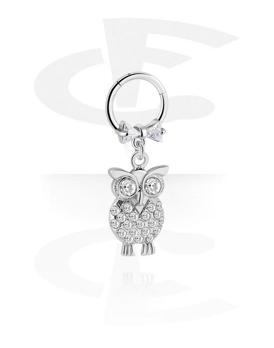 Alke za piercing, Višenamjenski kliker s owl pendant i crystal stones, Kirurški čelik 316L ,  Obloženi mesing
