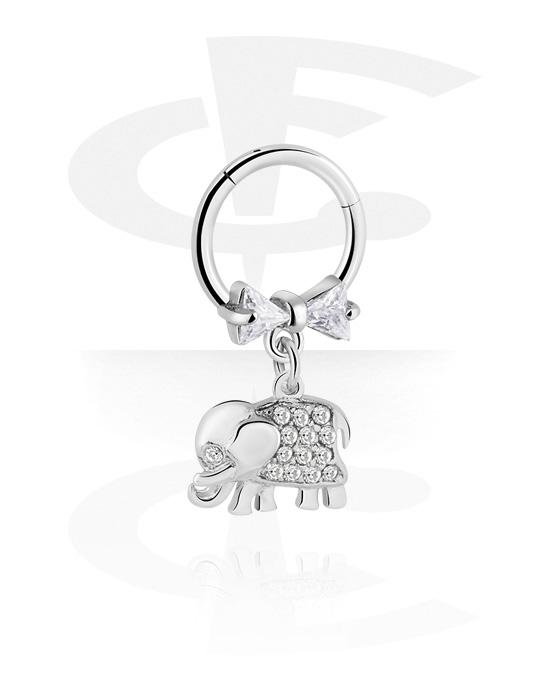 Renkaat, Monikäyttönipistin kanssa elephant pendant ja crystal stones, Kirurginteräs 316L ,  Pinnoitettu messinki