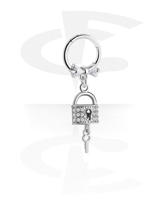 Renkaat, Monikäyttönipistin kanssa padlock charm ja crystal stones, Kirurginteräs 316L ,  Pinnoitettu messinki