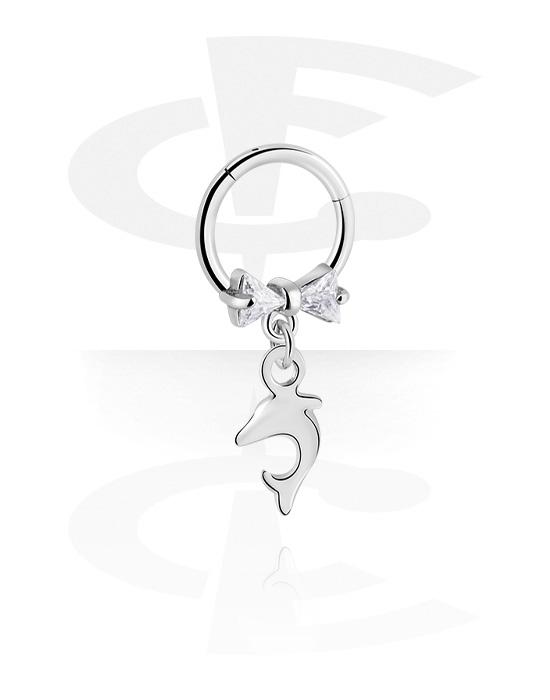 Renkaat, Monikäyttönipistin kanssa dolphin pendant ja crystal stones, Kirurginteräs 316L ,  Pinnoitettu messinki