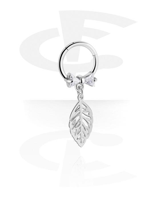Renkaat, Monikäyttönipistin kanssa leaf charm ja crystal stones, Kirurginteräs 316L ,  Pinnoitettu messinki