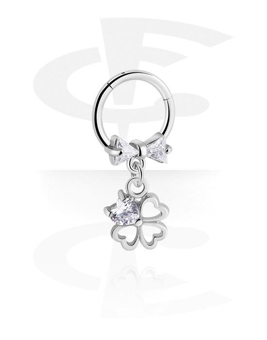 Renkaat, Monikäyttönipistin kanssa cloverleaf charm ja crystal stones, Kirurginteräs 316L ,  Pinnoitettu messinki