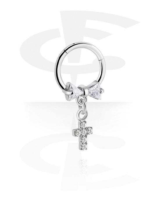 Renkaat, Monikäyttönipistin kanssa cross charm ja crystal stones, Kirurginteräs 316L ,  Pinnoitettu messinki