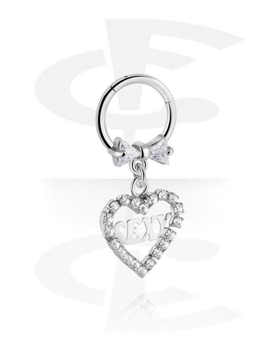 Piercingringen, Jeweled Hinged Segment Ring met hartaccessoire, Chirurgisch staal 316L, Belegde messing