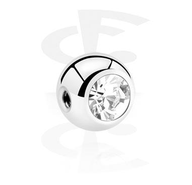 Ballen & Accessoires, Kristalballetje met zijdelingse schroefdraad, Chirurgisch Staal 316L