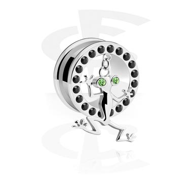 Tunnels & Plugs, Tunnel avec pendentif, Acier chirurgical 316L