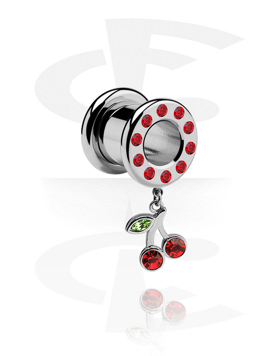 Tunnels & Plugs, Tunnel met kersaccessoire, Chirurgisch staal 316L