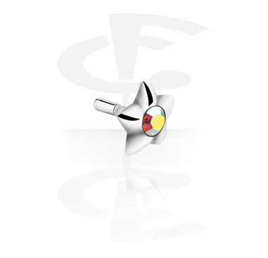 Balls & Replacement Ends, Jeweled Stud for Bioflex Internal Labrets, 925 Sterling Silver