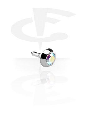 Pallot ja koristeet, Jeweled Stud for Bioflex Internal Labrets, 925 Sterling Silver