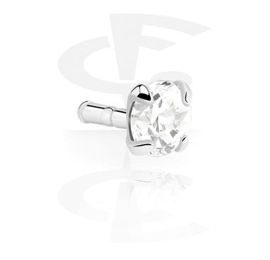 Kulki i inne zakończenia, Zdobiona kryształkiem końcówka labretu, 925 Sterling Silver