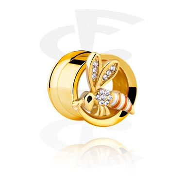 Tunnels & Plugs, Double Flared Tunnel, Gold Plated Surgical Steel