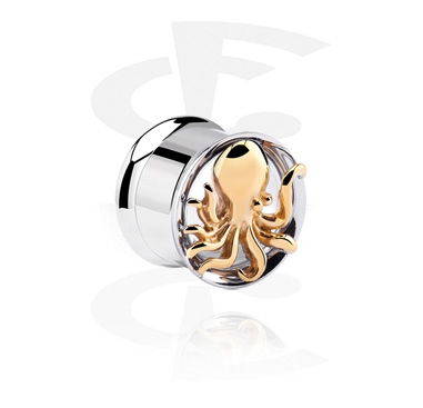 Tunnels & Plugs, Double Flared Tunnel with Octopus, Surgical Steel 316L