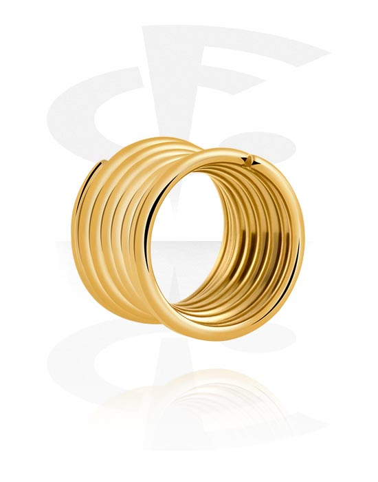 Tunnels & Plugs, Double Flared Tube, Verguld chirurgisch staal 316L