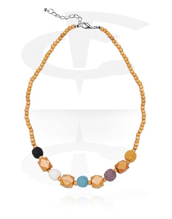 Halsketten, Modische Halskette, Basalt, Chirurgenstahl 316L
