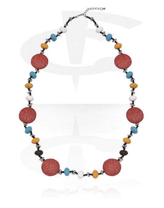 Naszyjniki, Fashion Necklace, Bazalt, Stal chirurgiczna 316L