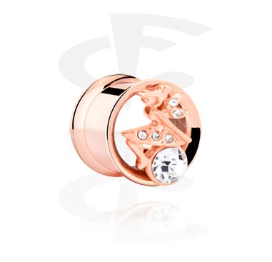 Tunnels & Plugs, Double Flared Tunnel, Rosegold Plated Steel