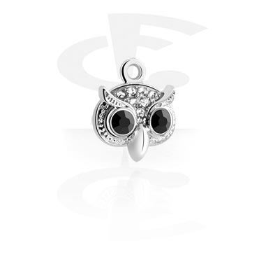 Balls & Replacement Ends, Charm with Owl Design, Surgical Steel 316L