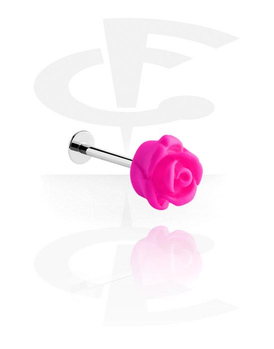 Labret, Labret con accessorio con rose, Acciaio chirurgico 316L, Acrilico