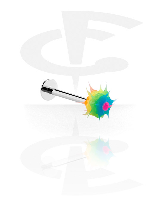Labrets, Labret with Spikey ball, Surgical Steel 316L, Silicone