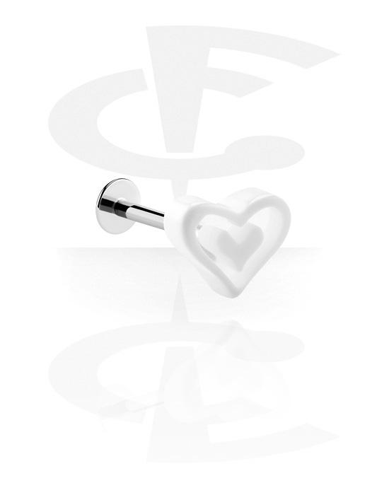 Labret, Labret con cuore, Acciaio chirurgico 316L, Acrilico