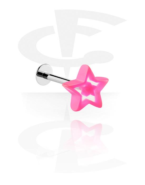 Labret, Labret con accessorio con stella, Acciaio chirurgico 316L, Acrilico