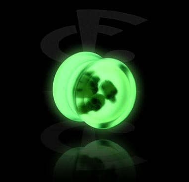 "Double flared plug ""Glow in the Dark"""