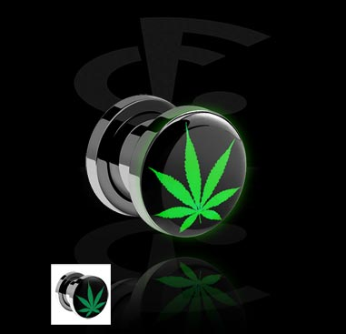 LED Plug com motivo Cannabis