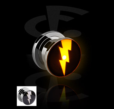 Tunely & plugy, LED Plug with Lightning Motive, Surgical Steel 316L