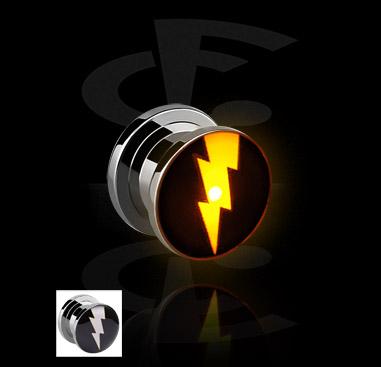 Tunnels & Plugs, LED Plug met bliksem-design, Chirurgisch staal 316L