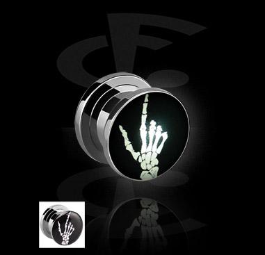 LED Plug com motivo mão de esqueleto