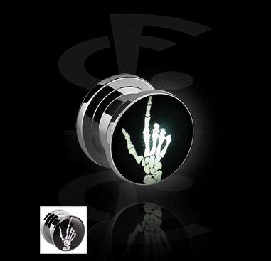 LED Plug mit Skelett-Hand-Motiv