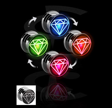 Tunnels & Plugs, LED Plug met diamant-design, Chirurgisch staal 316L