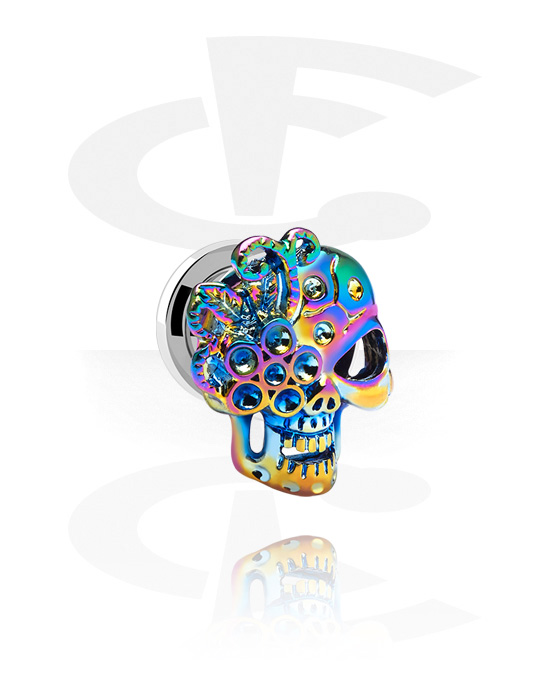 Tunnels & Plugs, Tunnel with Skull Design, Surgical Steel 316L, Alloy Steel