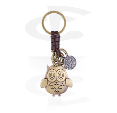 Keychains, Keychain with sweet owl, Alloy Steel ,  Leather