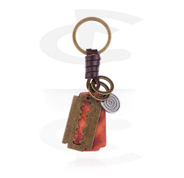 Keychains, Keychain with razorblade, Alloy Steel, Leather