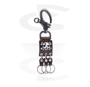Keychains, Keychain with Pirate design, Alloy Steel, Leather