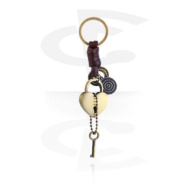 Keychains, Keychain with heart pendant, Alloy Steel, Leather