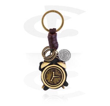 Keychains, Keychain with alarm clock, Alloy Steel, Leather