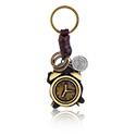 Přívěsek na klíče, Keychain with alarm clock, Alloy Steel, Leather