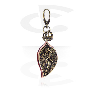 Keychains, Keychain with Leaf Design, Alloy Steel ,  Leather