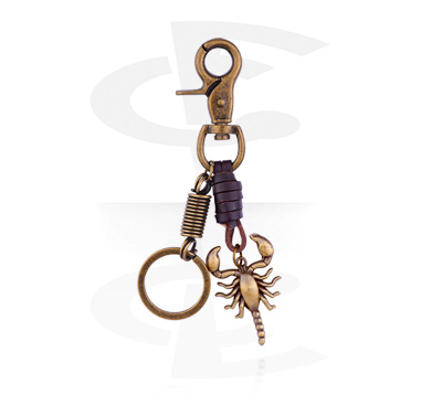 Keychains, Keychain with Scorpion, Alloy Steel, Leather