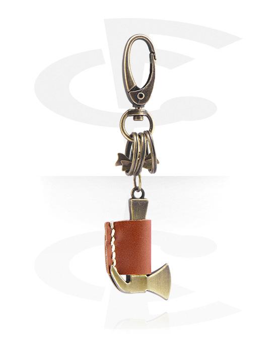 Přívěsek na klíče, Keychain, Legovaná ocel, Kůže